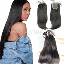 Superior Grade mix 3 bundles with lace closure Burmese Straight Virgin Human hair extensions