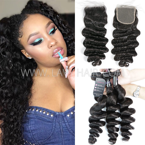 Superior Grade mix 3 bundles with lace closure Mongolian loose wave Virgin Human hair extensions