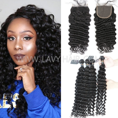 Superior Grade mix 3 bundles with lace closure Indian Deep wave Virgin Human hair extensions