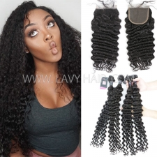 Superior Grade mix 3 bundles with lace closure Mongolian Deep wave Virgin Human hair extensions