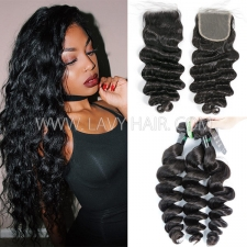 Regular Grade mix 3 bundles with lace closure Brazilian Loose Wave Virgin Human hair extensions