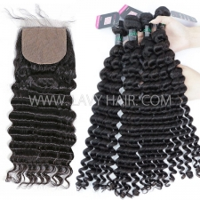 "Superior Grade mix 3 bundles with silk base closure 4*4"" Brazilian Deep wave Virgin Human hair extensions"