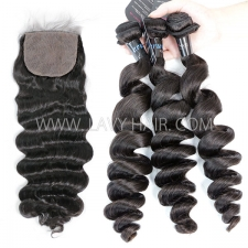 "Superior Grade mix 3 bundles with silk base closure 4*4"" Peruvian Loose Wave Virgin Human Hair Extensions"