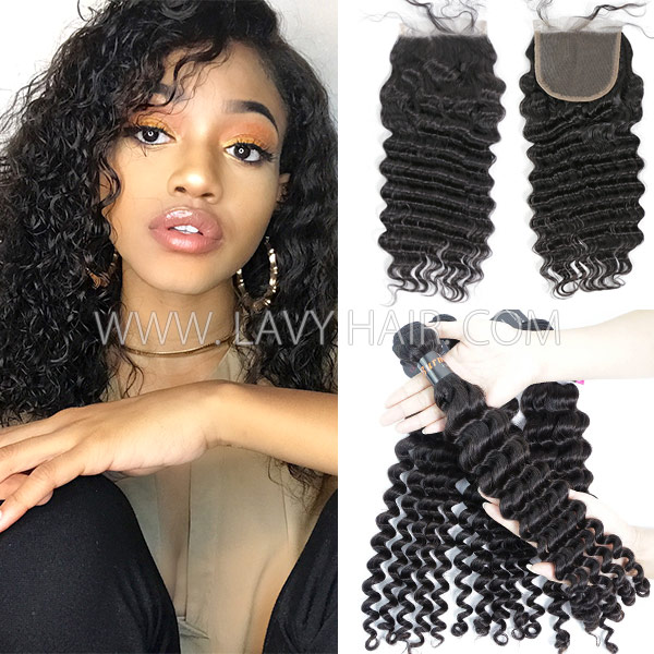 Superior Grade mix 3 bundles with lace closure Burmese Deep wave Virgin Human hair extensions