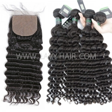 "Regular Grade mix 3 bundles with silk base closure 4*4"" Brazilian Deep wave Virgin Human   hair extensions"