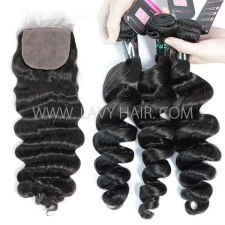 "Superior Grade mix 3 bundles with silk base closure 4*4"" Brazilian loose wave Virgin Human hair extensions"