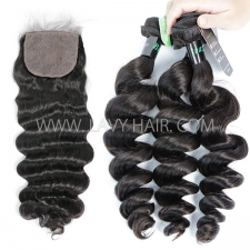 "Regular Grade mix 3 bundles with silk base closure 4*4"" Brazilian Loose Wave Virgin Human hair extensions"