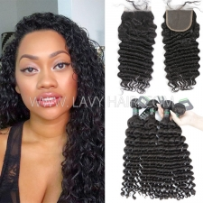 Regular Grade mix 3 bundles with lace closure Brazilian Deep wave Virgin Human hair extensions