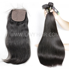 "Regular Grade mix 3 bundles with silk base closure 4*4"" European Straight Virgin Human hair extensions"
