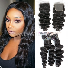 Superior Grade mix 3 bundles with lace closure European loose wave Virgin Human hair extensions