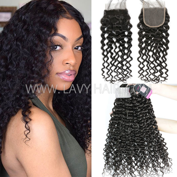 Superior Grade mix 3 bundles with lace closure Brazilian Italian Curly Virgin Human hair extensions