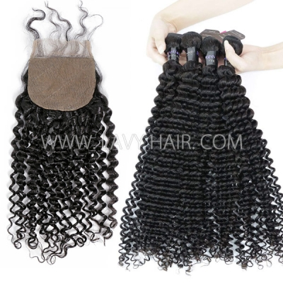 "Superior Grade mix 3 bundles with silk base closure 4*4"" Mongolian Deep Curly Virgin Human hair extensions"