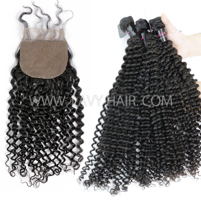 "Superior Grade mix 3 bundles with silk base closure 4*4"" Malaysian deep curly Virgin Human hair   extensions"