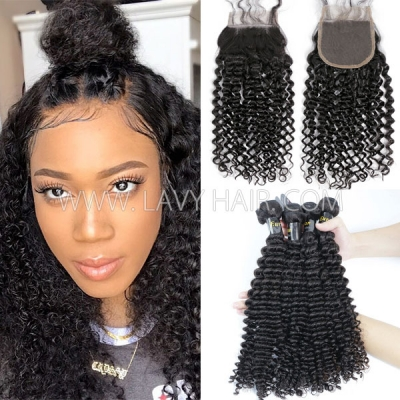 Superior Grade mix 3 bundles with lace closure European deep curly Virgin Human hair extensions