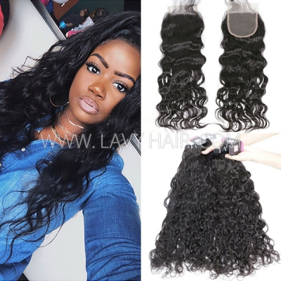 Superior Grade mix 3 bundles with lace closure Brazilian natural wave Virgin Human hair extensions