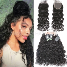 Regular Grade mix 3 bundles with lace closure Mongolian Natural Wave Virgin Human hair extensions