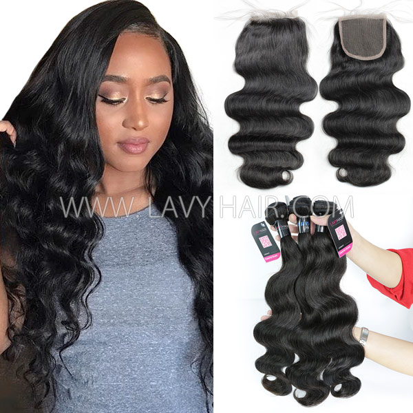 Superior Grade mix 3 bundles with lace closure Peruvian Body Wave Virgin Human hair extensions