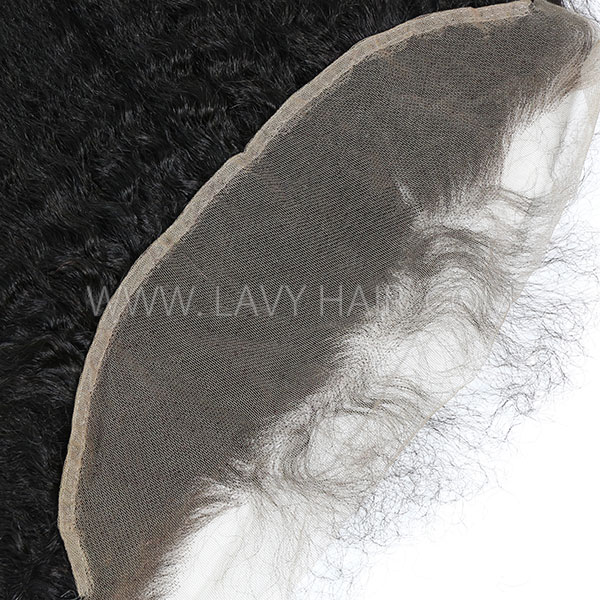 #1B Color Ear to ear 13*4 Lace Frontal Kinky straight Human hair Swiss lace