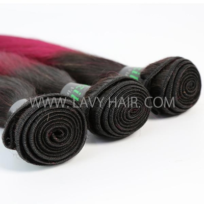 #1B/99J Superior Grade 1 bundle Brazilian straight Virgin Human hair extensions
