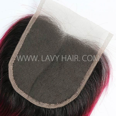 "Lace top closure 4*4"" Straight  #1B/99J Human hair medium brown Swiss lace"