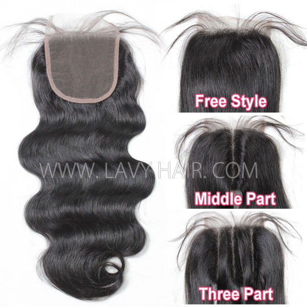 "Lace top closure 4*4"" body wave Hair Human hair medium brown Swiss lace"