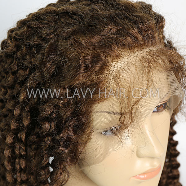 4# 130% Density Full Lace Wigs Deep Curly Human Hair