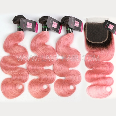 #1B/Pink Superior Grade 3 Bundles With Lace Closure Straight&Body Wave Brazilian Peruvian Malaysian Indian European Cambodian Burmese Mongolian