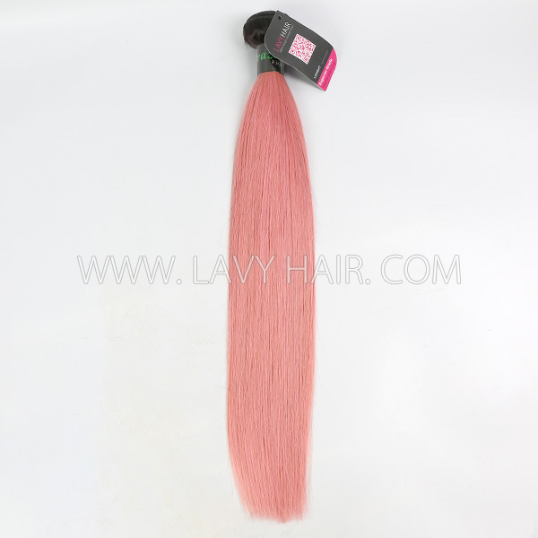 #1B/Pink Superior Grade 1 bundle Brazilian straight Virgin Human hair extensions