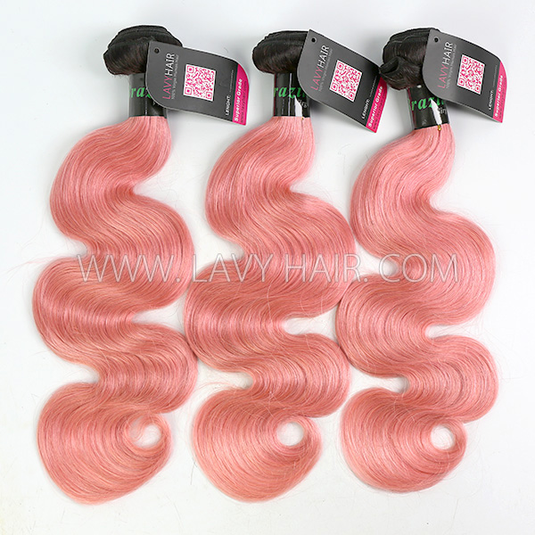 #1B/Pink Superior Grade 3 bundles with lace closure Brazilian Body wave Virgin Human hair extensions