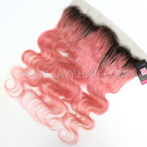 # 1B/Pink Ear to ear 13*4 Lace Frontal Body Wave Human hair medium brown Swiss lace