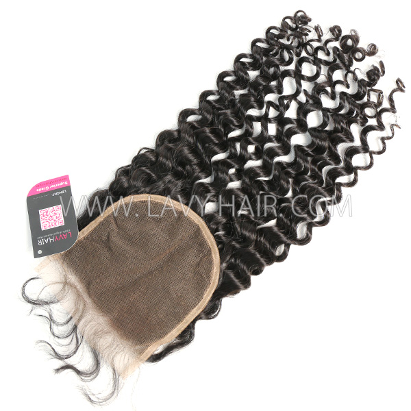 "Lace top closure 5*5"" Italian Curly Human hair medium brown Swiss lace"