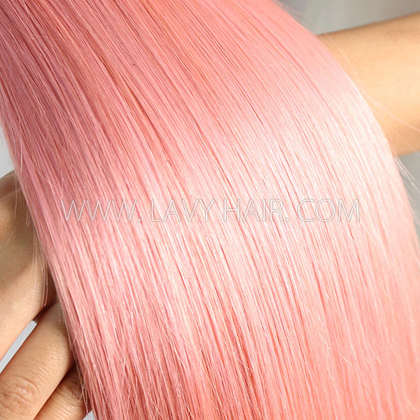 #1B/Pink Superior Grade mix 4 bundles with lace closure Brazilian Straight Virgin Human hair extensions
