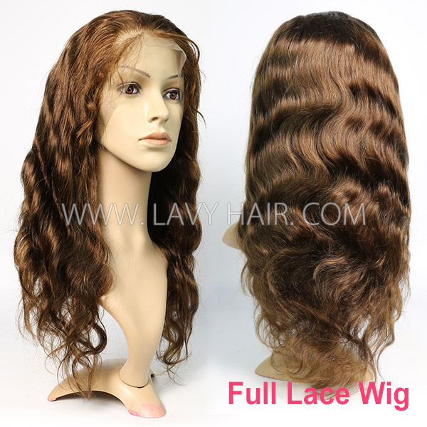4# 130% Density Full Lace Wigs Body Wave Human Hair