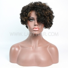 150% Density Bob Curly Human Hair RF3C-124 F1B-30