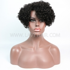 150% Density Bob Curly Human Hair RF3C-124 1B