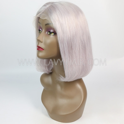 Straight Hair Human Hair Grey Color Lace Frontal Bob Wig 150% Density