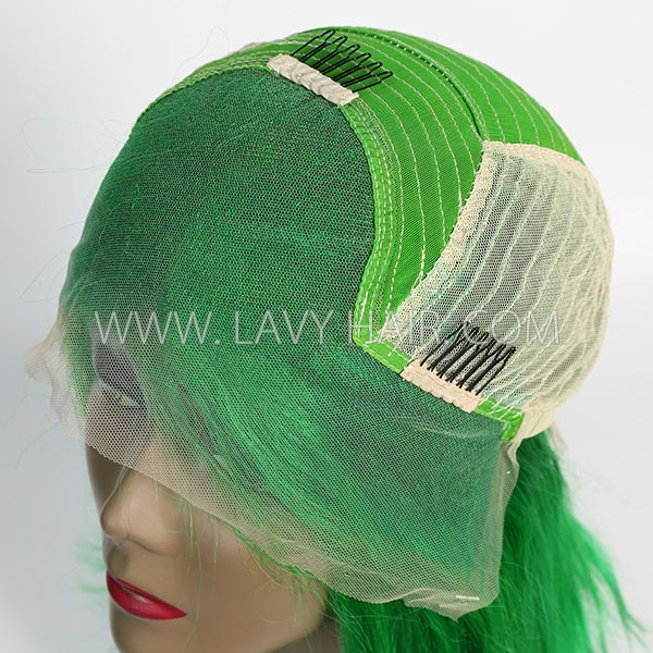Green Color Lace Frontal Bob Wig 150% Density Straight Hair Human hair