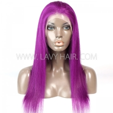 Purple Color Lace Frontal wig Straight Hair Human Hair