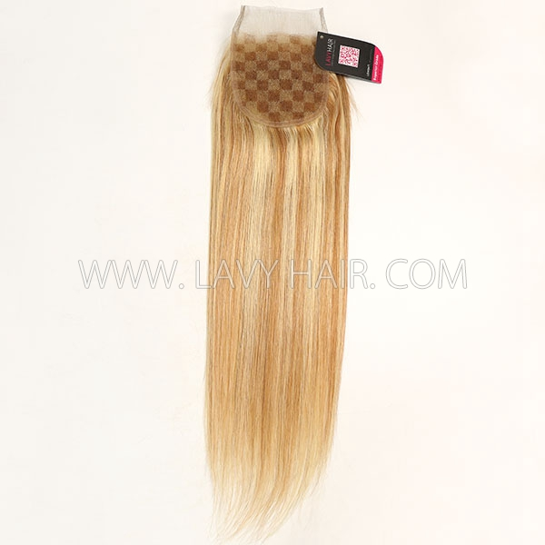 "#P10/24 Lace top closure 4*4"" Straight  Human hair medium brown Swiss lace"