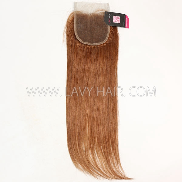 "Color 30 Lace top closure 4*4"" Straight  Human hair medium brown Swiss lace"