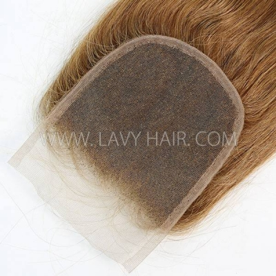"Color 8 Lace top closure 4*4"" Straight  Human hair medium brown Swiss lace"