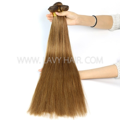 Color 8 Straight Hair Human Virgin Hair 2/3 Bundles With Lace Closure 4*4