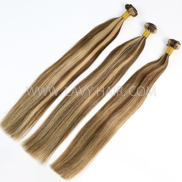 Color p4/27 Straight Hair Human Virgin Hair 2/3 Bundles With Lace Closure 4*4