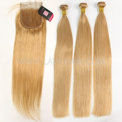 Color 520 Straight Hair Human Virgin Hair 2/3 Bundles With Lace Closure 4*4
