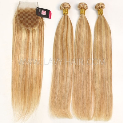 Color p10/24 Straight Hair Human Virgin Hair 2/3 Bundles With Lace Closure 4*4
