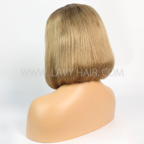 #1B/27 Color Lace Frontal Bob Wig 150% Density Straight Hair Human Hair