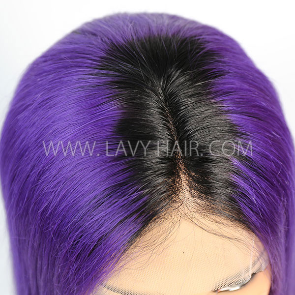 #1B/Purple Color Lace Frontal Bob Wig 150% Density Straight Hair Human Hair