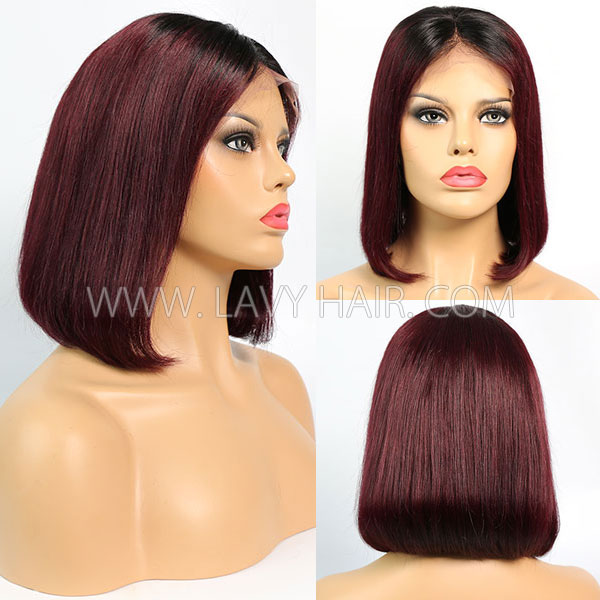 #1B/99J Color Lace Frontal Bob Wig 150% Density Straight Hair Human Hair