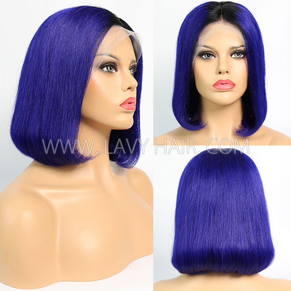 #1B/Blue Color Lace Frontal Bob Wig 150% Density Straight Hair Human Hair