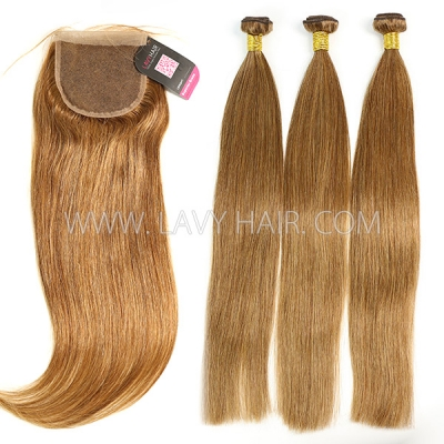 Color 6 Straight Hair Human Virgin Hair 2/3 Bundles With Lace Closure 4*4